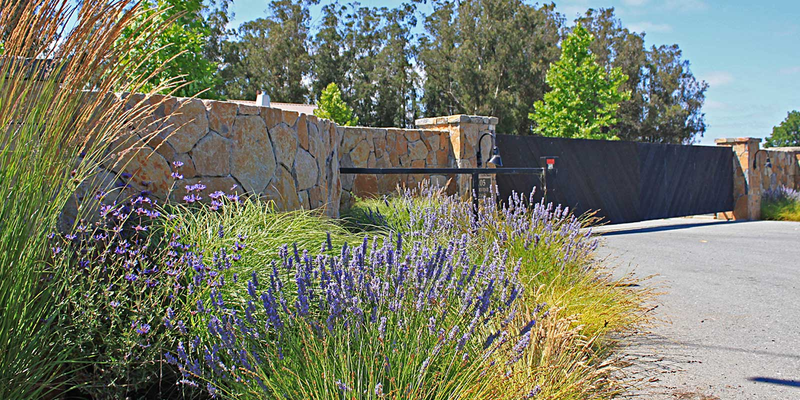 Equestrian ranch entry landscape