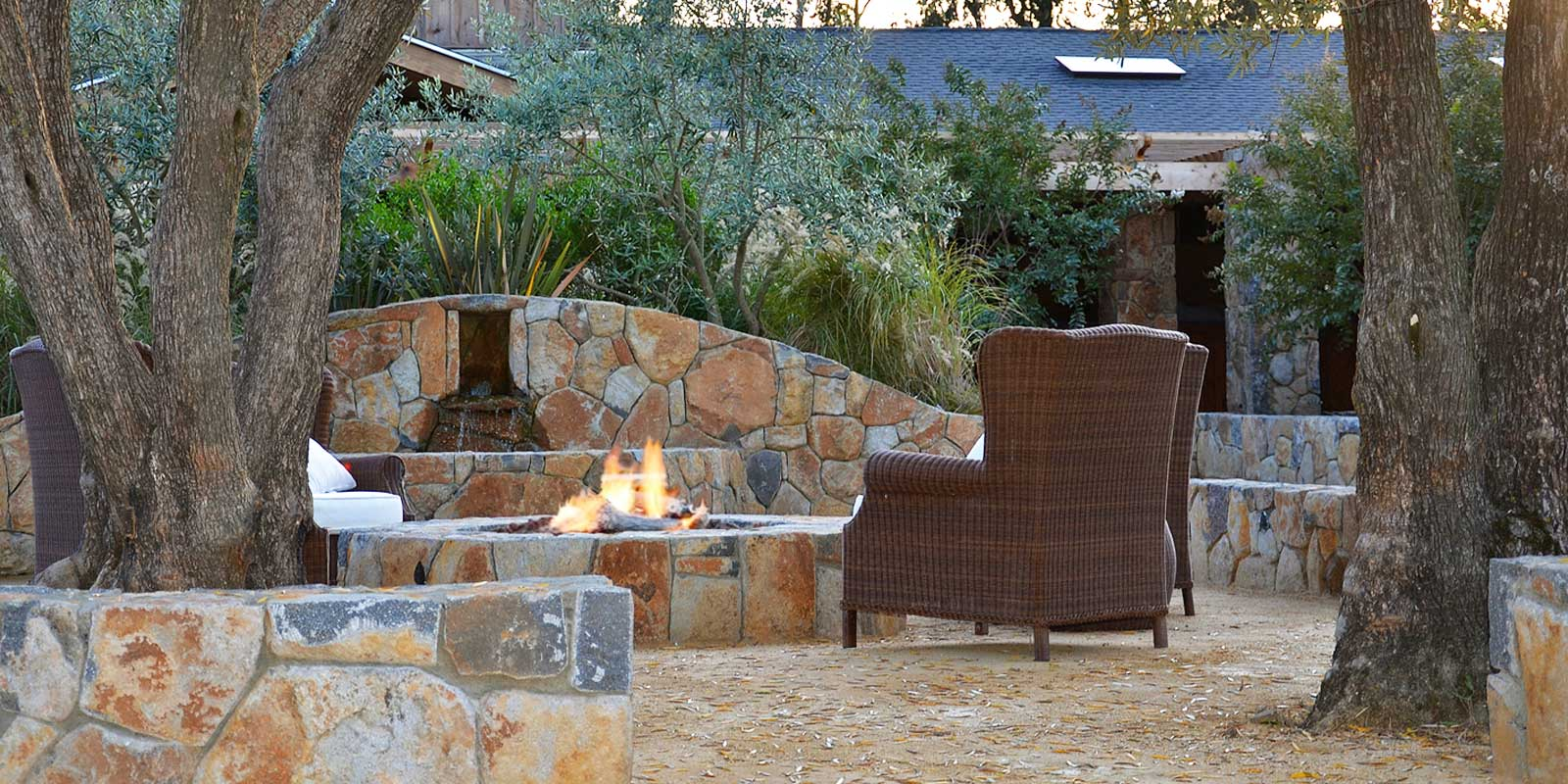 Equestrian ranch courtyard fire pit and fountain