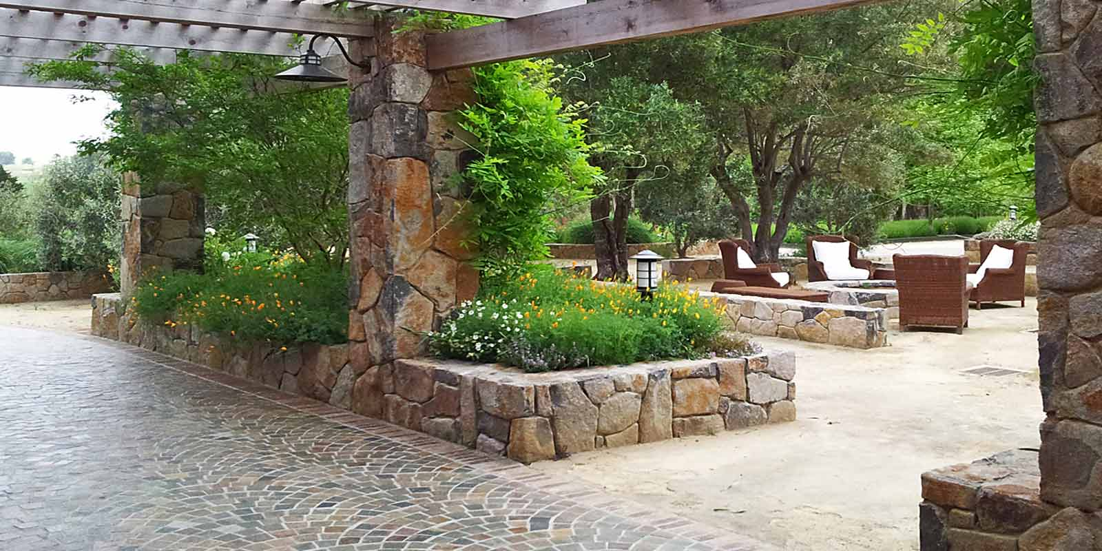 Equestrian ranch barn courtyard