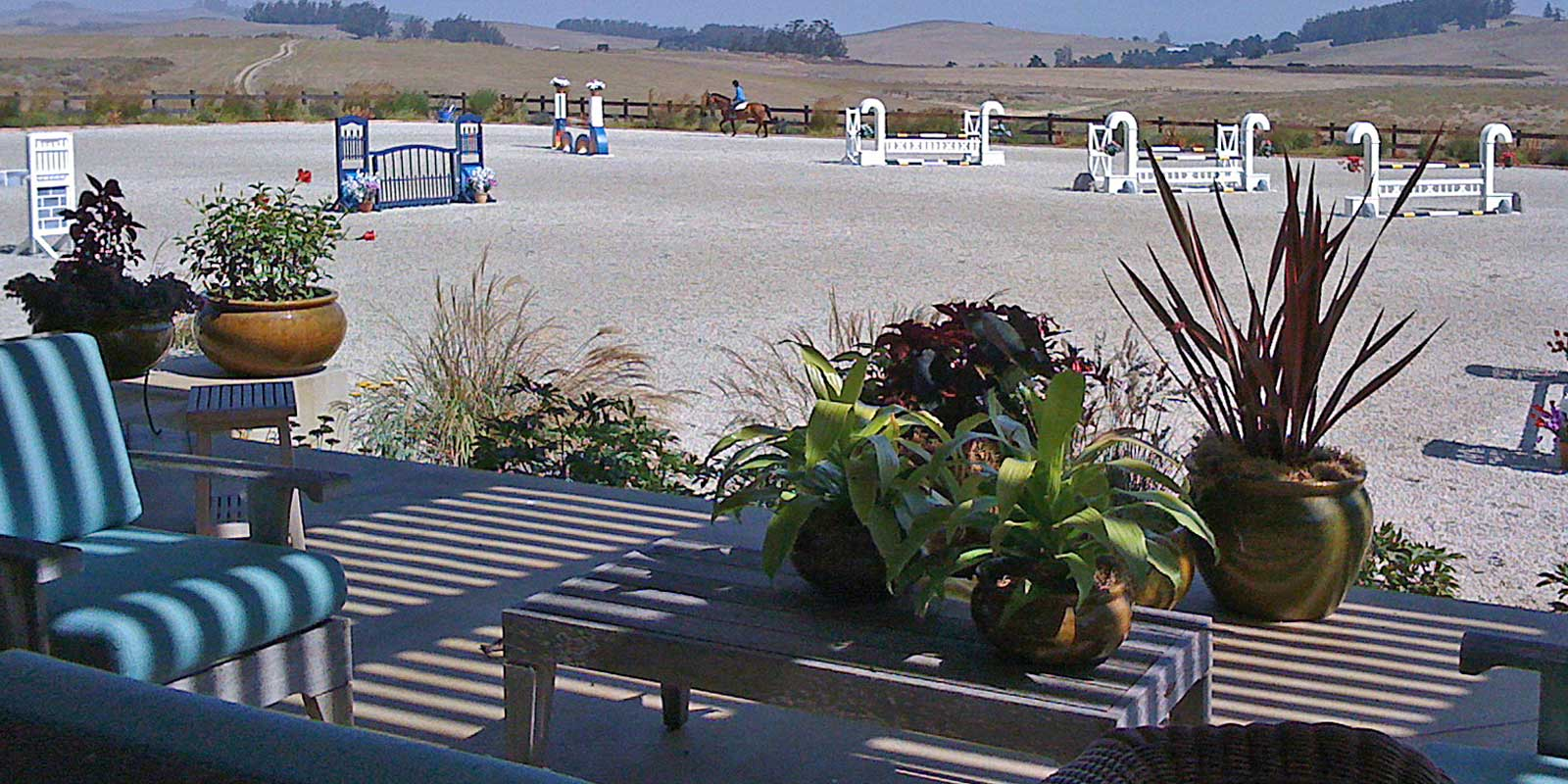 View of equestrian arena from viewing pavillion