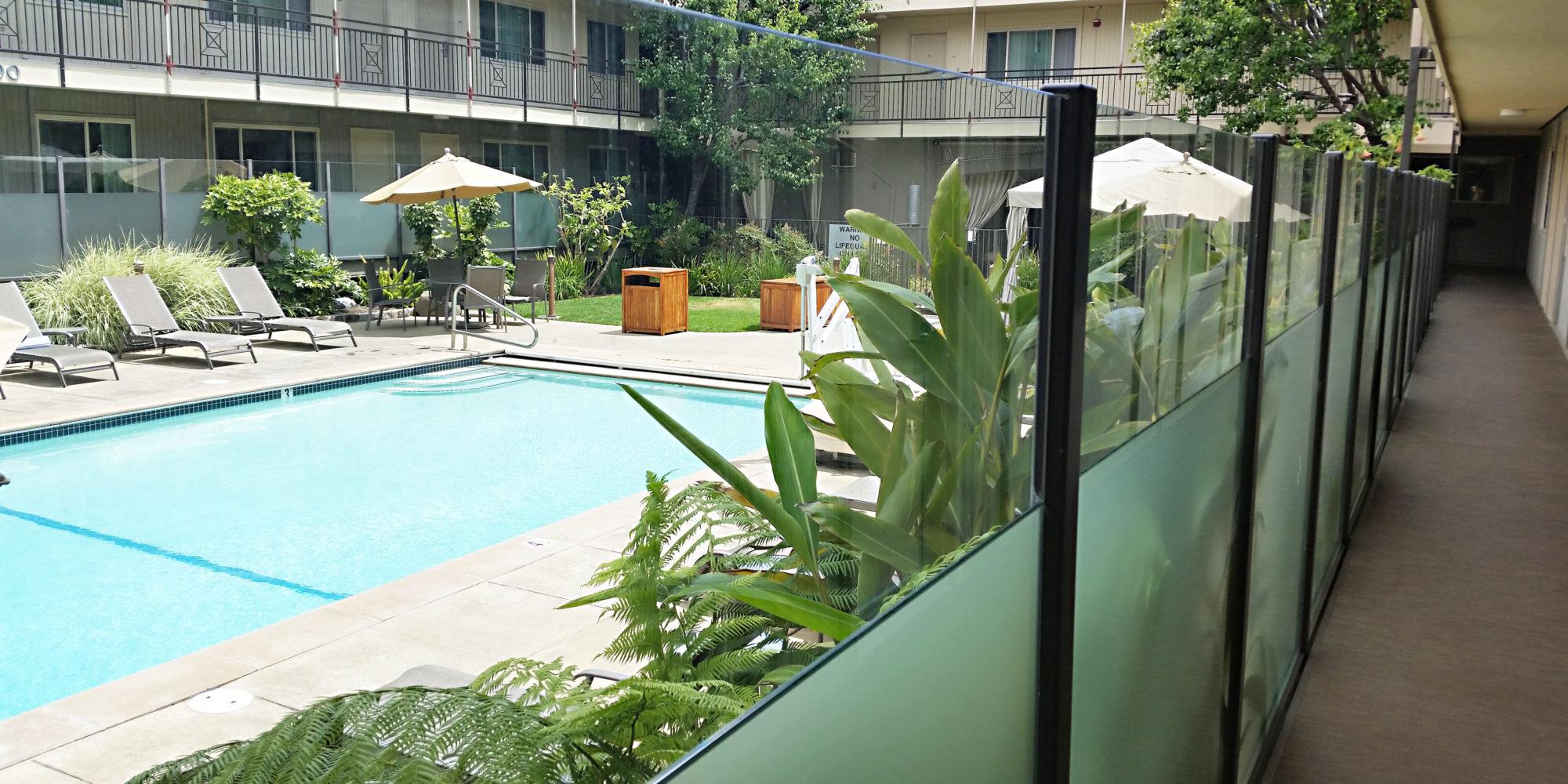 Glass Guard Rail at Pool