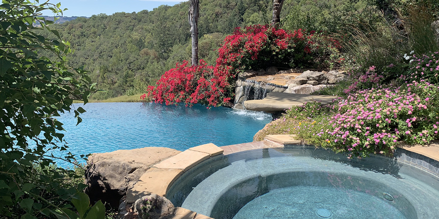 Pool with Spa and Waterfall in Sonoma