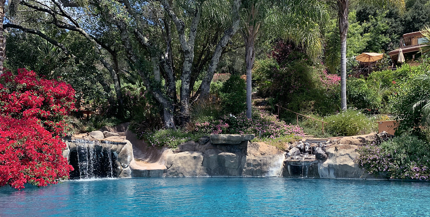 Waterfalls and Pool for A Mediterranean Villa