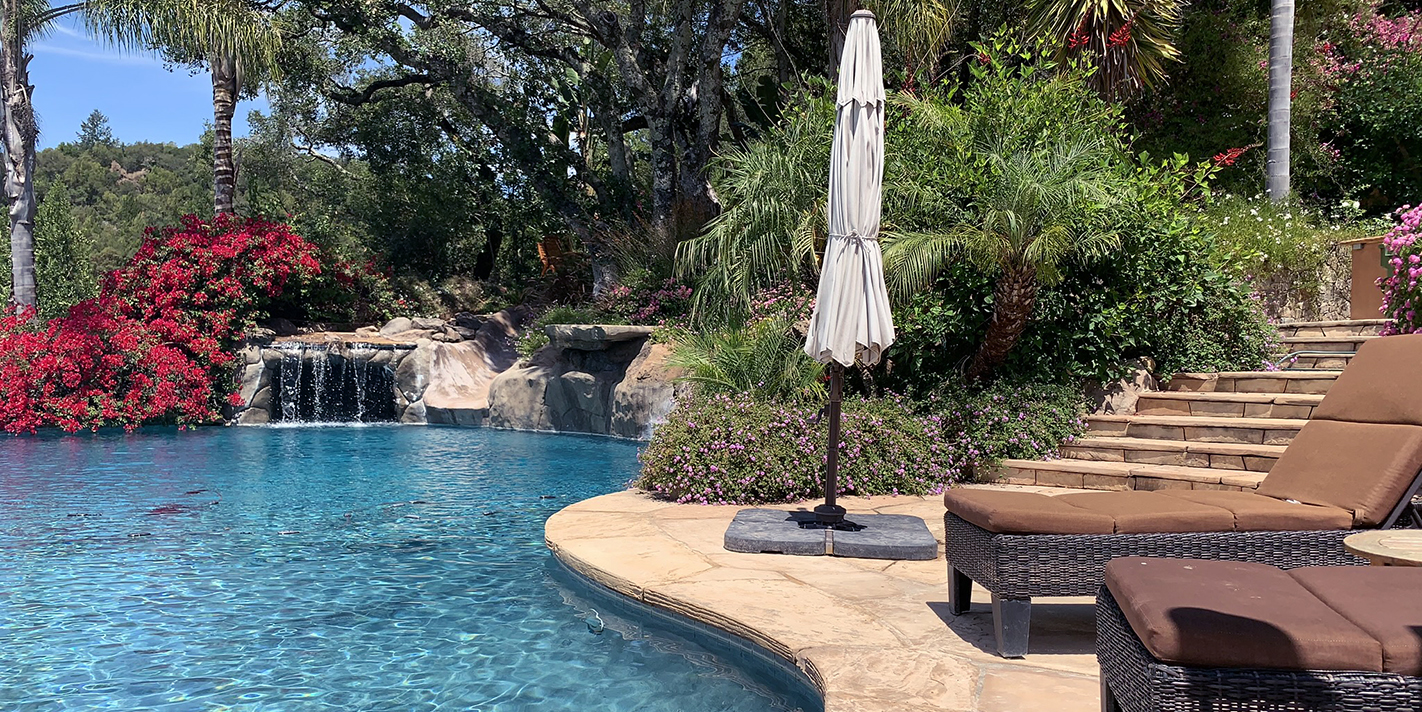 Patio overlooking Waterfalls and Pool in Sonoma